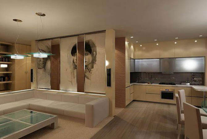 интерьер комнаты объединенной с балконом