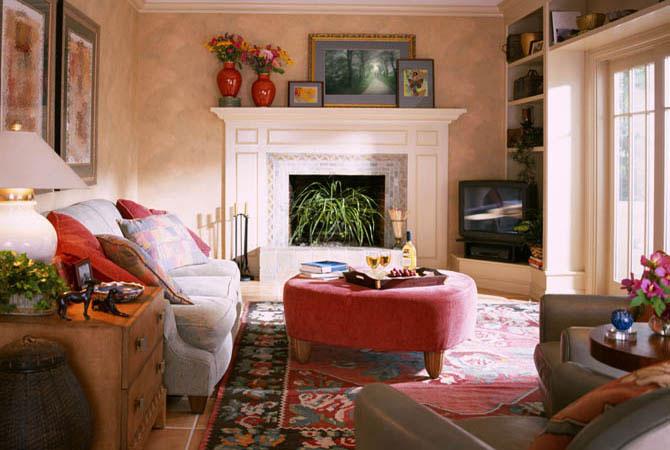 интерьер комнаты с эркером