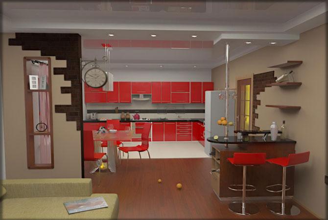дизайн гостинной комнаты с рабочим местом