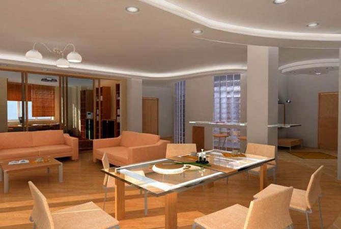 дизайн комнаты совмещенной с кухней фото